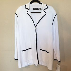 Dana Buchman white w/navy trim button cardigan 3X